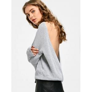 Backless Boat Neck Sweater - GRAY ONE SIZE