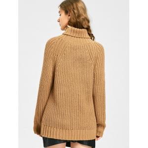 Turtleneck Cut Out Chunky Sweater -