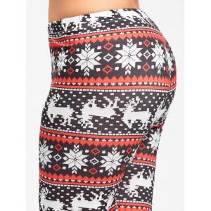 Christmas Snowflake Elk Plus Size Leggings - BLACK&RED XL