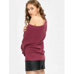 Off The Shoulder Ruched Sweater - PURPLISH RED ONE SIZE