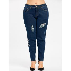 Plus Size Zipper Floral Embroidered Jeans -