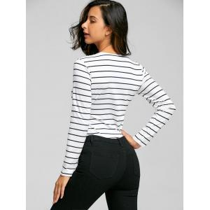Long Sleeve Lace Up Striped Bodysuit -