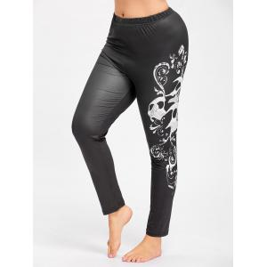 Halloween Plus Size Skull Print Leggings -