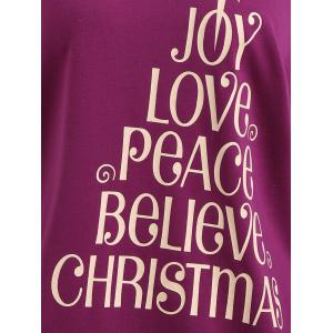 Plus Size Joy Believe Christmas Tree Skew Neck Sweatshirt -