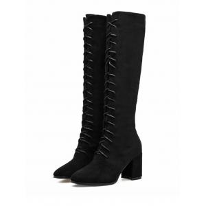 Lace Up Knee High Boots -