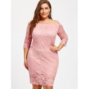 Off The Shoulder Plus Size Lace Dress -