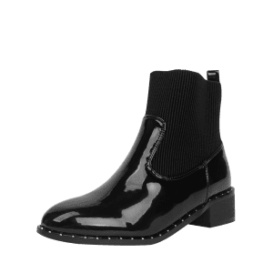 Ankle Low Heel Rivets Splicing Boots -