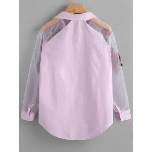 Flower Embroidered See Through Shirt -