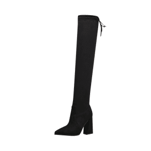 Pointed Toe Block Heel Thigh High Boots -