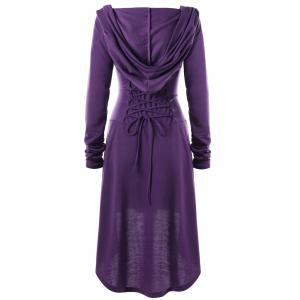Hooded Lace-up Long Sleeve High Low Dress -