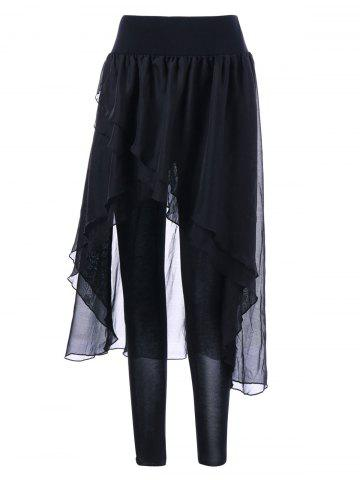 Online Chiffon Irregular Skirted Leggings BLACK M