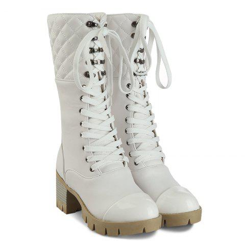 New Eyelet Quilted Lace Up Mid Calf Boots