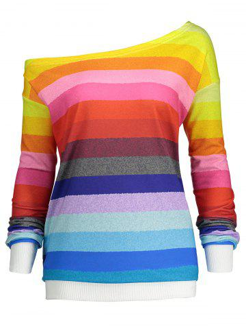 Store Rainbow Print Plus Size One Shoulder Sweatshirt