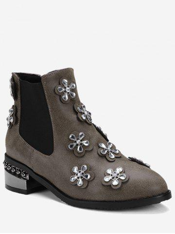 Store Ankle Rhinestone Elastic Band Boots BROWN 42