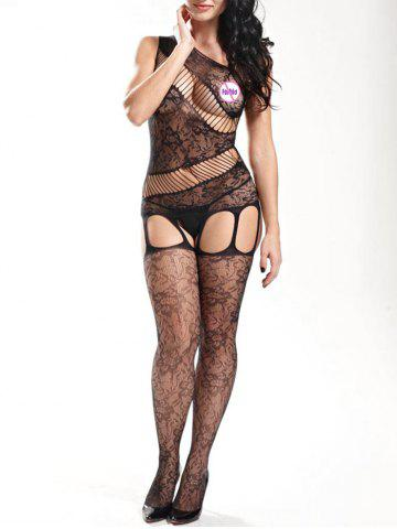 New Sheer Fishnet One Shoulder Bodystockings BLACK ONE SIZE