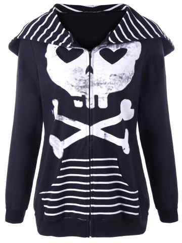 Outfit Halloween Skull Hooded Striped Panel Jacket