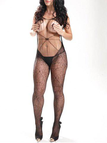 Outfit Spider Web Backless Fishnet Bodystockings BLACK ONE SIZE