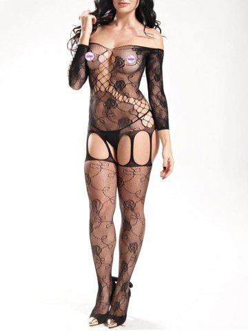 Off The Shoulder Fishnet Bodystockings Noir TAILLE MOYENNE