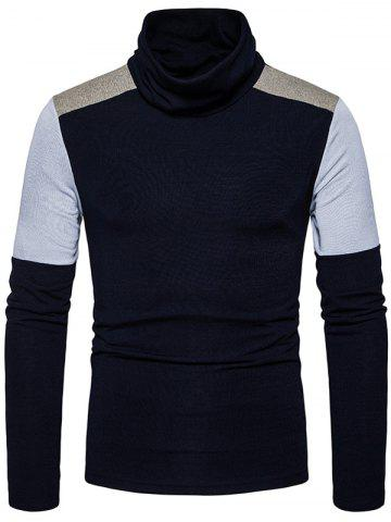 Cowl Neck Knit Color Block Sweater