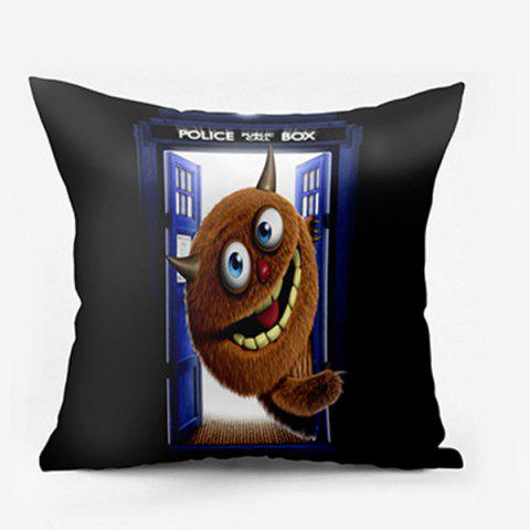 Shops Monster Police Box Pattern Square Pillow Case - W24 INCH * L24 INCH BLACK Mobile