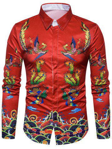 Chinoiserie Symmetrical Phoenix Print Shirt Multicolore 2XL