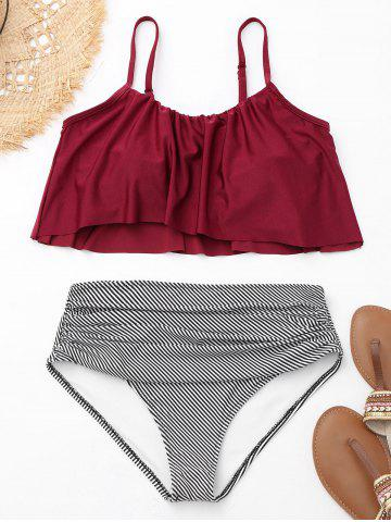 Cheap Flounce Striped Cold Shoulder Bikini Set - S WINE RED Mobile
