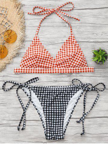 Trendy Halter Tied Gingham Print Bikini Set - XL RED Mobile