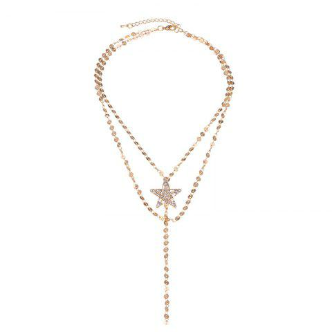 Faux Gem Star Layered Longline Necklace