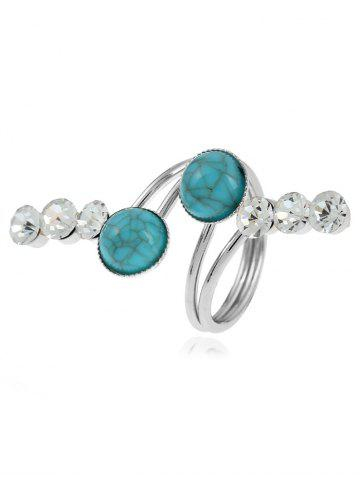 Outfit Faux Gemstone Rhinestone Full Finger Ring - SILVER  Mobile