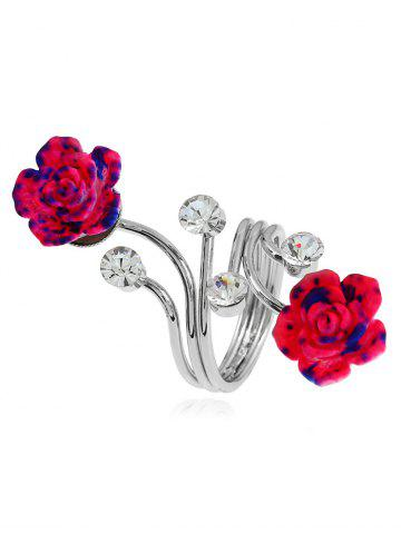 Affordable Rhinestone Alloy Full Finger Flower Ring - SILVER  Mobile