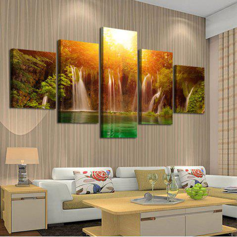 New Sunset Waterfall Patterned Split Canvas Wall Art Painting