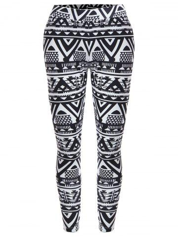 Buy Geometric Print Christmas High Waisted Leggings - M BLACK Mobile
