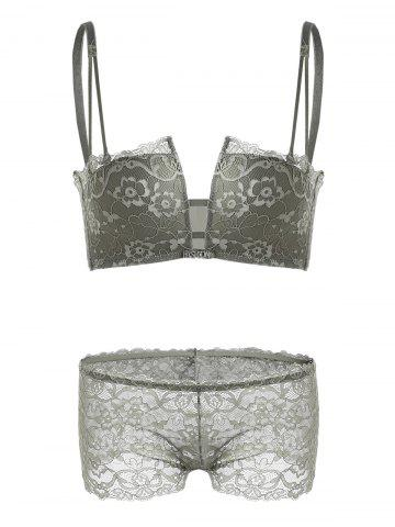 Latest Lace Crossback Bra Set - 75A ARMY GREEN Mobile