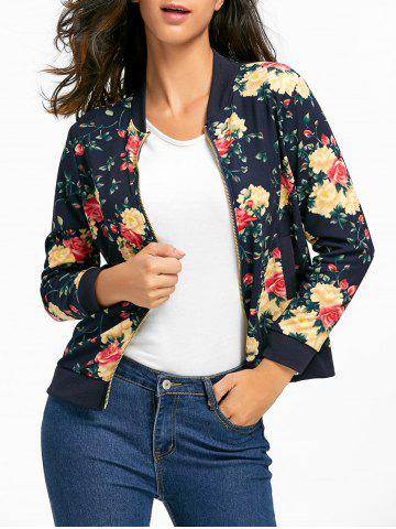 Zipper Fly Floral Bomber Jacket Azuré S