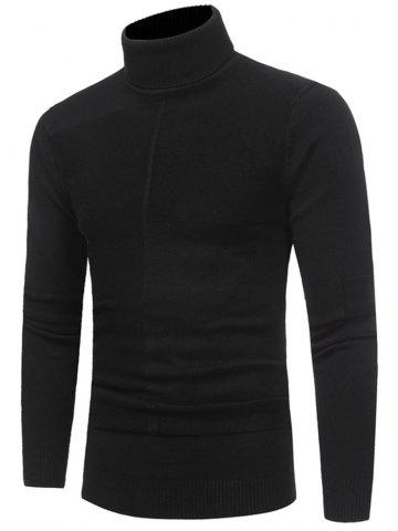 Fashion Panel Design Roll Neck Sweater