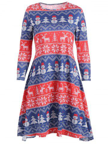 Sale Snowflake Snowman Print Mini Swing Christmas Dress