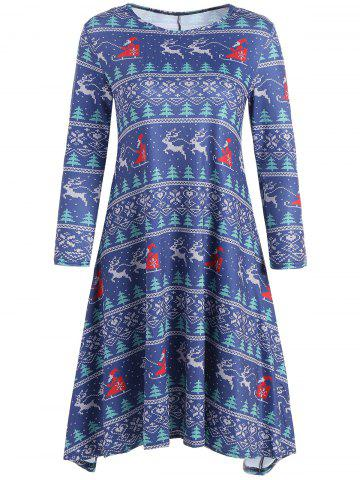 New Reindeer Snowflake Christmas Mini Swing Dress