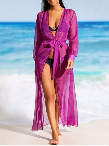 Discount Flowy Maxi Wrap Cover Up Dress - XL PURPLE Mobile