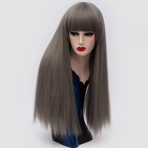 Shops Long Full Bang Fluffy Straight Lolita Cosplay Synthetic Wig - DARK GRAY  Mobile