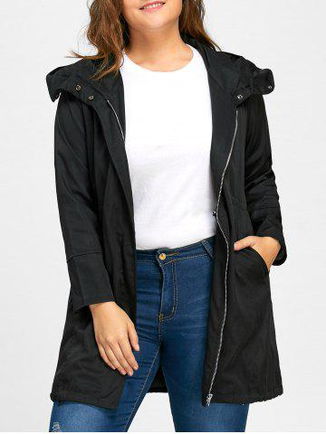 Outfit Elastic Waist Plus Size Long Hooded Coat