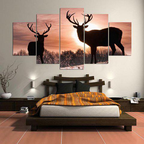 Online Wall Art Sunset Elks Pattern Split Canvas Paintings
