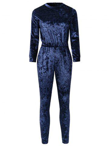 Affordable Velvet Cigarette Jumpsuit - M PURPLISH BLUE Mobile