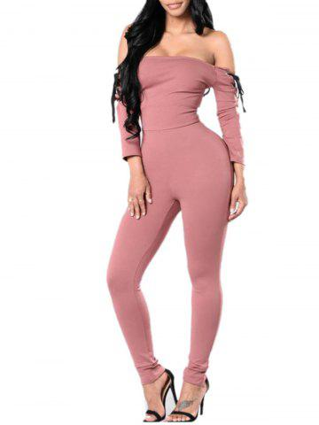 Discount Off The Shoulder Lace Up Jumpsuit PINK S