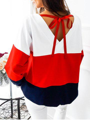 V Back Tied Color Block Sweatshirt Rouge S
