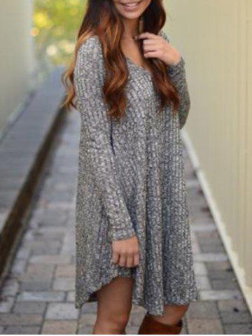 Trendy V Neck Marled Knit Casual Dress GRAY L