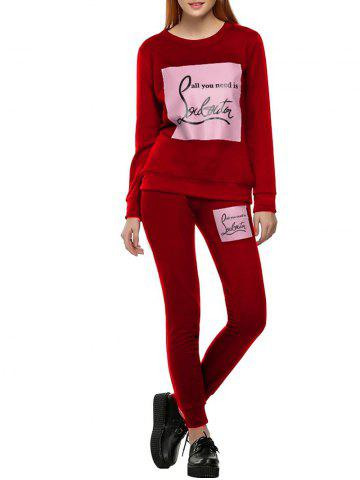 Shops Printed Sweatshirt Sport Suit - M RED Mobile