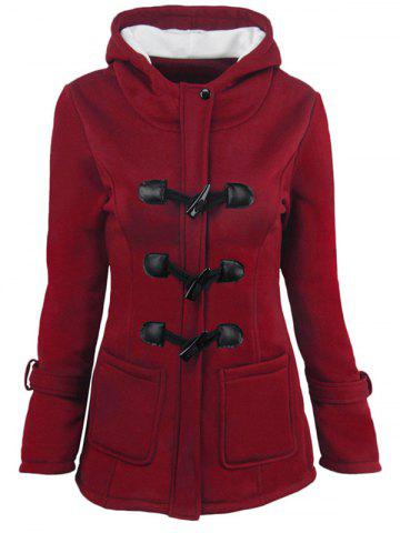 Outfits Hooded Duffle Coat with Front Pockets - S WINE RED Mobile