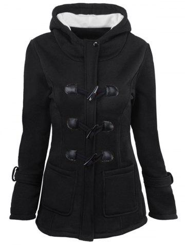 Hot Hooded Duffle Coat with Front Pockets - 2XL BLACK Mobile