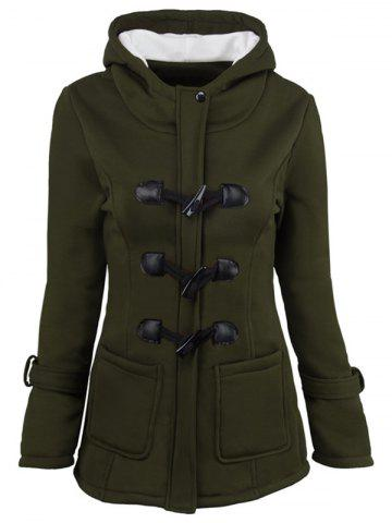 Best Hooded Duffle Coat with Front Pockets - 2XL ARMY GREEN Mobile