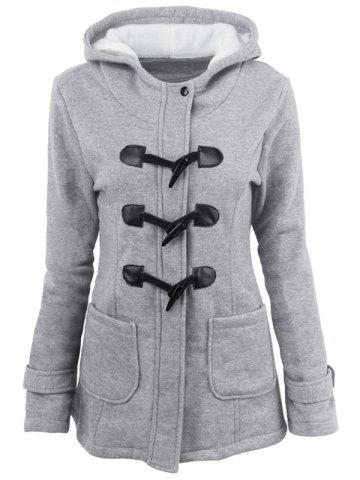 Latest Hooded Duffle Coat with Front Pockets LIGHT GRAY 2XL